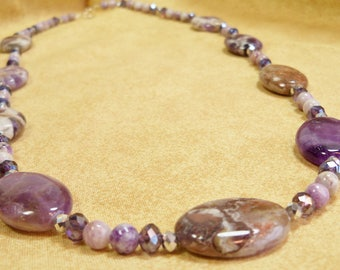 """Cape Amethyst Necklace with Purple Crazy Lace Agate and Crystal, Amethyst Necklace, Purple Stone Jewelry, Amethyst and Crystal Necklace, 24"""""""