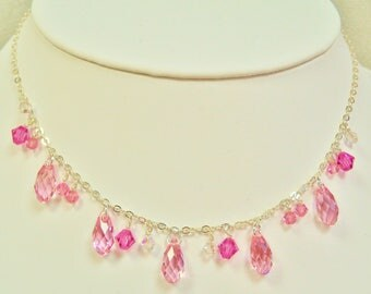 Swarovski Crystal Necklace, Swarovski Pink Necklace, Crystal Necklace, Swarovski Rose Pink Necklace, Pink Crystal Jewelry,Swarovski Jewelry