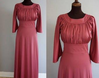 1970s Blush Berry Maxi Dress / Vintage 1970s Gown