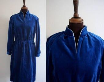 Electric Blue Velvet 1970s - 1980s Dress / Vintage Velvet Dress