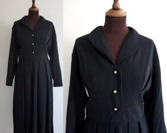 1950s Black Wool Dress / Vintage Wool Dress