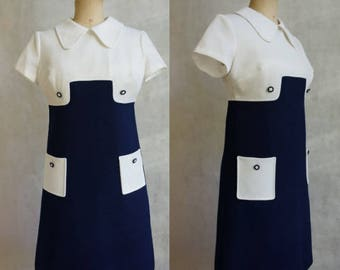 Blue and White Geometric 1960s Dress / Mini Dress / MOD Dress
