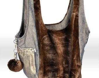 Recycle Jeans Shoulder Bag with Pom-Pom