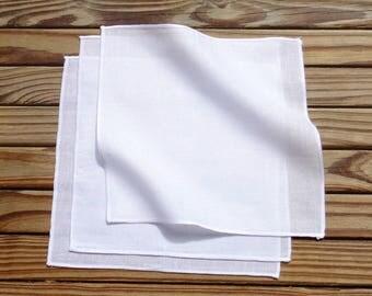 The Organic Handkerchiefs Company White Organic Cotton Handkerchiefs, Small Mens Handkerchiefs, White Hankies Set of 3 - hanky