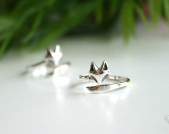 Fox ring sterling silver 92.5%