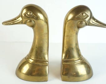 Brass Duck Bookends - Birk's Vintage Bookends - Brass Decor - Brass Ducks - Brass Library Decor - Bookends - Duck Lovers - Vintage Bookends
