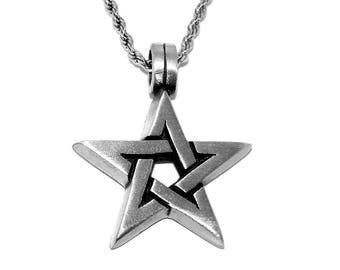 Open Pentagram Pentacle Pagan Pendant Necklace with Chain