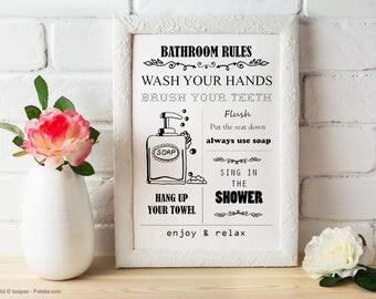 Bathroom rules. Illustration for self printing