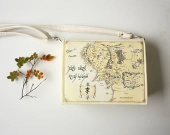 Map of Middle Earth Book Purse Beige Faux Leather Book Bag