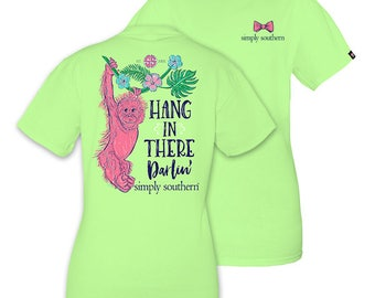 Simply Southern Hang In There Darlin' Monkey Limeaide Green Short Sleeve T-Shirt