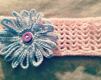 Baby girls pink lace crochet headband