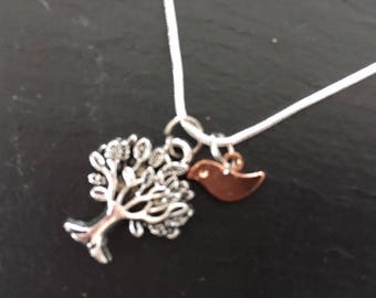Tree of life with rose gold bird necklace