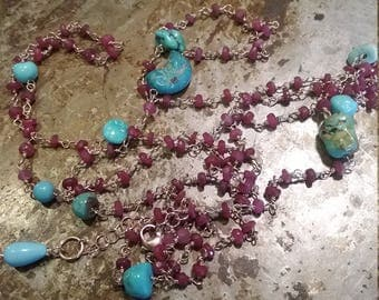 Rosary in silver and semiprecious stones