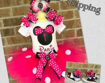 Minnie Mouse Birthday Tutu Outfit with Bling Shoes and Parent of the Birthday Girl Shirts and free shipping