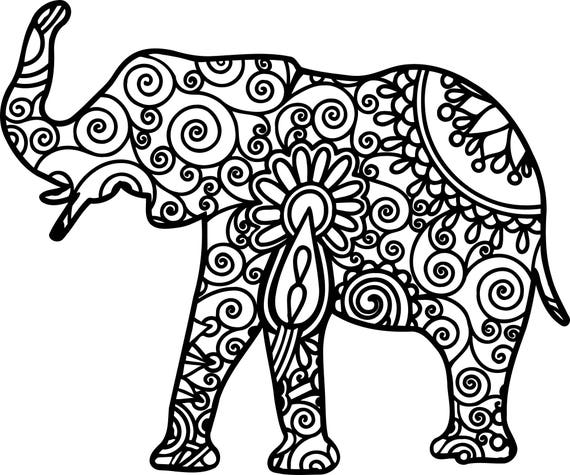 Mandala Elephant Svg Cuttable File From Leighssvgs On Etsy