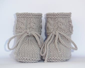 Knitted baby booties shoes