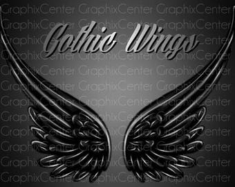 Digital Clipart - Gothic Wings Clip Art, Wings Clipart