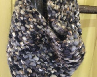 Hand knited black white and grey cowl.