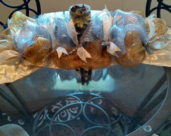 Gold and silver mesh centerpiece