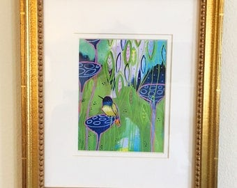 Colorful, Bird Print with Gold Frame