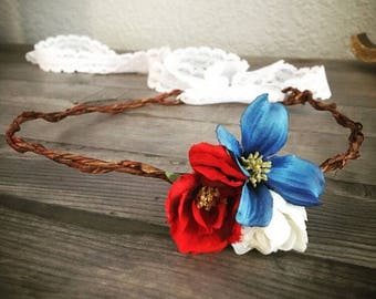 Red, white, and blue flower crown with adjustable white lace tie back