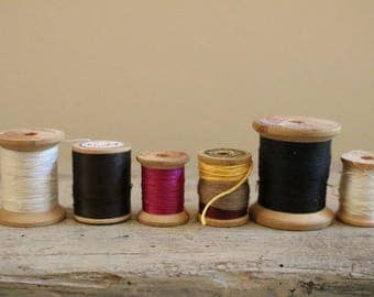 Set of 6 Vintage Wood Spools and Thread