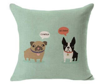Opps I Farted Pug With French Bulldog - Green Pillow Case