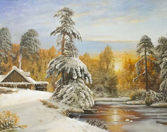 In the winter forest Oil Painting Original Art Painting Canvas