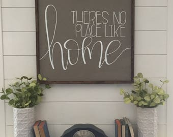 """24""""x24"""" There's no place like home framed rustic/farmhouse sign"""