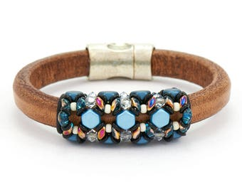 Bracelet Kit Blue Nile Honeycomb with Swarovski® Crystals – Blue