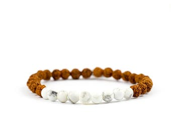 Mala Yoga bracelet SELF CONFIDENCE with Rudraksha seeds and turquoise gems - for yoga and meditation.