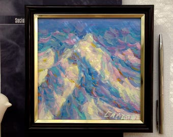 "MINI Original framed Oil Painting mountain bedside table decor artwork 6х6"" snow peaks winter home living room bedroom decor square"