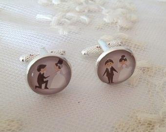 Twins cameo silver bride and groom.