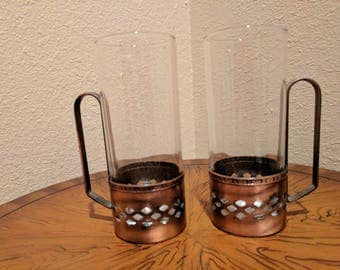 Vintage set of two Irish, Russian coffee, tea glasses with copper sleeves.