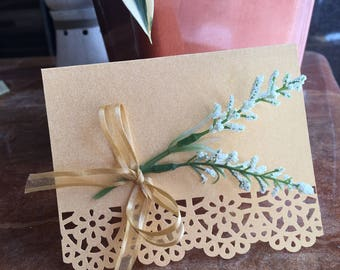 Lace Gold Floral Blank Card