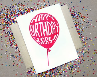 Linocut Greeting Card // Happy Birthday // Red Balloon // Baby