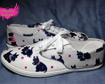 Scotty dog pumps, plimsolls, adult pumps, children's pumps, flat shoes, fabric shoes, customised shoes