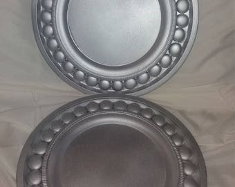 """Steel Silver Wedding Charger plates (set of 6) 13"""""""