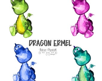 Dragon Ermel 5A, Watercolor Clipart, Baby, Child, Fun, Craft