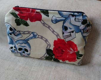 Change purse, wallet, Skull & roses, gothic, chains, coin purse, make up bag, white and pink striped, handmade