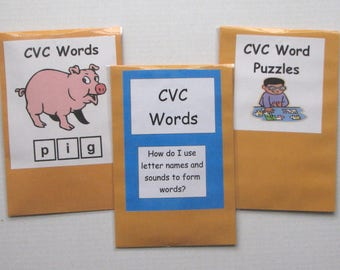 3 Teacher Made Literacy Centers Educational Learning Resource Games CVC Words