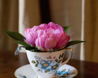 Delphine Teacup and Saucer with Silk Peony