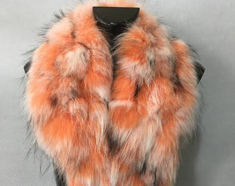 Beautiful Real Natural Orange-Black-White Fin Raccoon Fur Collar
