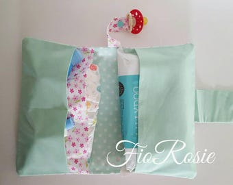 Diaper bag mint flower