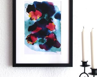 WATER PLANTS - abstract, art print, watercolour, watercolor, water, flowers