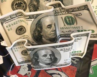 "Bent Benjamins-15""x34"" Money-Corporate Gift-Office Art-Promotion-Man Cave-Graduation Gift-Money Talks-Finance-Banking-Lucky Money Prosperity"
