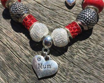 Mum European Charm Bracelet, European Bracelet Gift For Mum Birthday Gift, Mother Bracelet, Red Bracelets, Big Hole Charm Bead Pandora Style