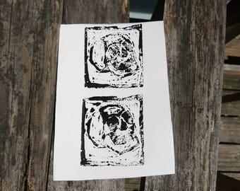 Skulls Woodcut Print