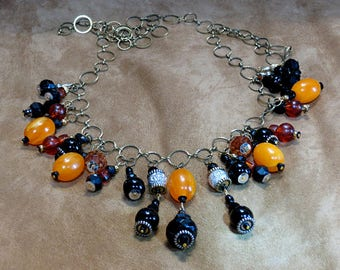 Black, Orange and amber necklace