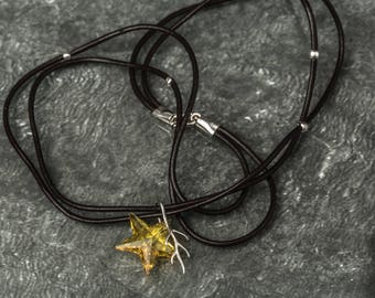 Leather cord, 925 sterling silver and swarovski star crystal necklace